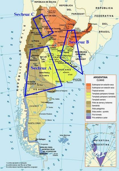 Carte de l'Argentine avec l'emplacement des 3 secteurs. crédit: fabiensworld.blogspot.fr/