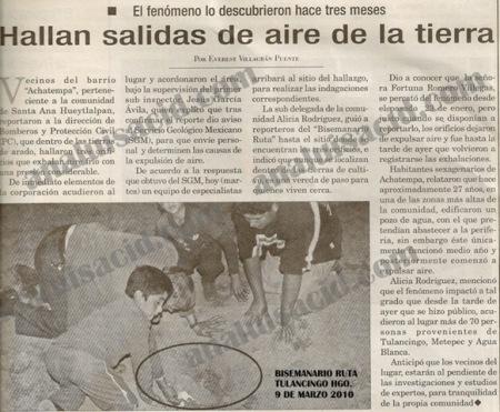 Phénomène de Hidalgo, Mexique Bisemanario_ruta