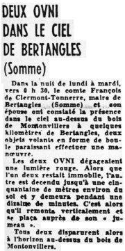 BERTANGLES (80) Des ovnis dans le ciel amiénois Lavoixdunord22mai1974