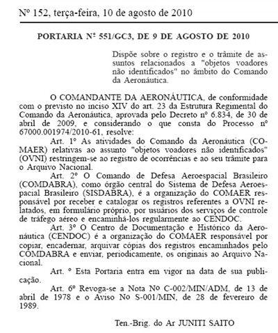 Les Ovnis seront dorénavant enregistrées officiellement au Brésil Brazil