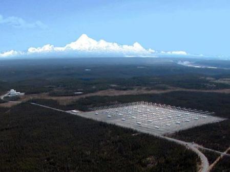 Une vue de Haarp avec ses 180 antennes. La gamme des hautes fréquences que peut émettre cette installation s'étend de 2,75 à 10 MHz. © High Frequency Active Auroral Research Program