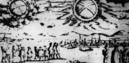 """Cette illustration montre l'observation de deux OVNI au dessus de Hambourg, en Allemagne, le 4 Novembre 1697. Les objets ont été décrits comme """"deux roues brillantes""""."""