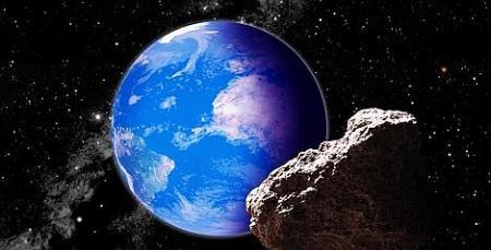 Un astéroïde géocroiseur, vue d'artiste. (David A. Aguilar) source : http://www.letemps.ch