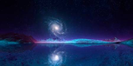 Spiral galaxy seen from an alien planet, computer artwork.