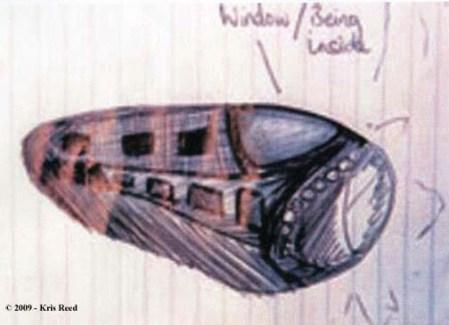 """Dessin réalisé par Kris Reed en 2007. Les petites ondulations à droite représentent le """"champ de force"""" ou la """"bulle d'énergie"""" autour de l'engin."""
