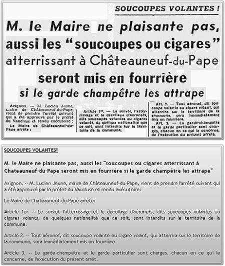 L'arrêté anti-OVNI de Châteauneuf-du-Pape  © Capture d'écran http://ufologie.patrickgross.org/