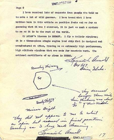 Lettre de Kenneth Arnold aux renseignements de l'armée de l'air 12  juillet 1947. Via Wikimedia Commons.