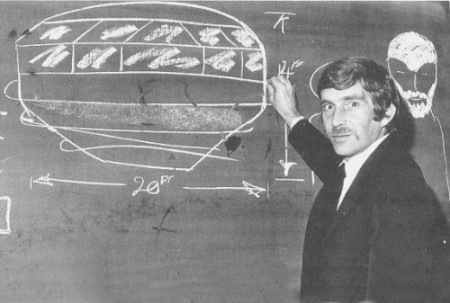 Alan Godfrey, with a drawing of the craft. (credit: Evans and Stacy)