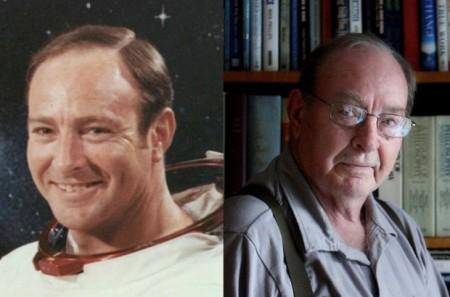 L'astronaute Edgar Mitchell, en 1971, après avoir marché sur la Lune, et en 2011.(Photos: 5dmedianetwork.com)