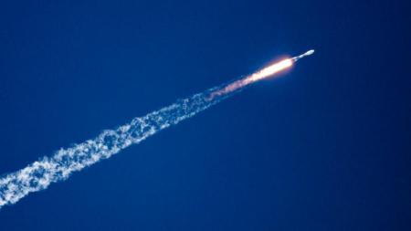 Le cargo ravitailleur avait été embarquée à bord d'une fusée Soyouz tirée mardi. Image d'illustration.[JODY AMIET / AFP]