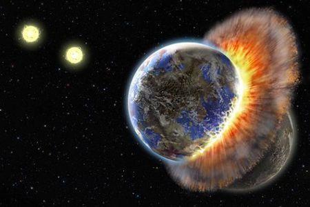 Vue d'artiste (Lynette R. Cook) de la collision entre deux planètes à proximité d'une étoile double. Crédit UCLA
