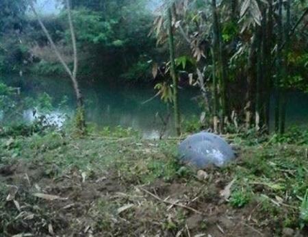 La plus grande balle a atterri dans un champ de maïs près d'un ruisseau, loin des gens. Il semble s'agir du réservoir d'air comprimé d'une fusée. (Thanh Nien News)