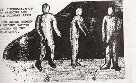 Impression d'artiste : cette esquisse originale des entités est présentée par Mark Birdsall dans la publication de 1986 Source image Open Minds TV