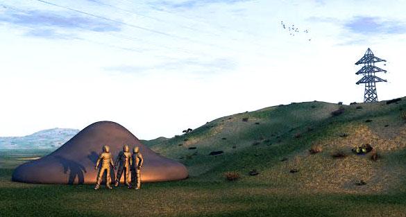 Normanton 1979 couleur 7 x 5 haute résolution: Impression d'artiste par David Sankey du cas d'atterrissage d'OVNI 1979. Copyright David Sankey (www.davidsankey.com) Source image : Open Minds TV