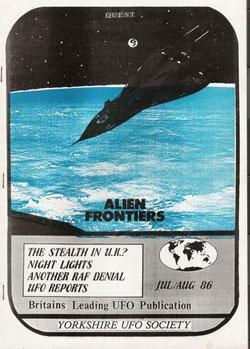 Quest Magazine en 1986. La publication originale faite à la main qui détaille l'atterrissage d'OVNI à Normanton. Source : Open Minds TV